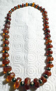 Old Natural Root Beer Baltic Chinese Tibetan Amber And Silver Bead Necklace