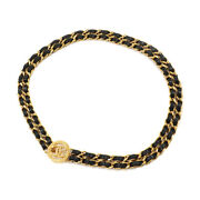 Coco Chain Belt Leather Black Gold Vintage Accessories 90114863
