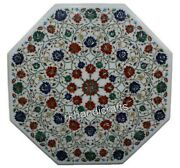 Marble Inlay Table Top With Floral Pattern Patio Dining Table For Home 42 Inches
