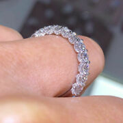 Round Cut 1.50 Ct Real Diamond Engagement Eternity Bands 14k White Gold Size 5 6