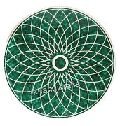 Elegant Pattern Inlay Meeting Table Top Round Marble Dining Table Top 36 Inches