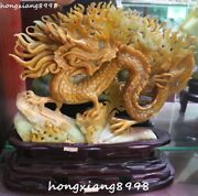 16noblest China Natural Jade Fengshui Wealth Dragon Dragons Loong Animal Statue