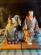 A Pair Of Japanese Wooden Figure Doll Signed
