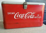 Vtg 1940and039s Drink Coca Cola In Bottles Coke All Metal Cooler 22 X 13 X 13 Tray