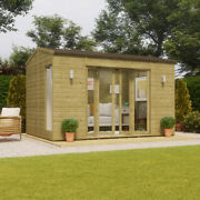 12x8 Pressure Treated Cannes Wooden Garden Summerhouse Sunroom With French Door