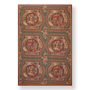 5'11 X 9' Hand Woven Country Design French Aubusson Needlepoint Area Rug Brown