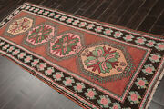 3'8 X 8'11 Hand Knotted 100 Wool Antique Caucasian Runner Area Rug Rust