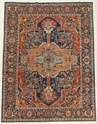 Hand Knotted Hand-spun Wool Vegetable Dyes Navy Rust Tribal Oriental Rug 9 X 12