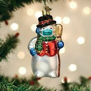Old World Christmas Snowman W/face Mask Pandemic Glass Christmas Ornament 24209