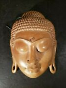 Wood Buddha Statue Face Hand Carved Art Sculpture 3-d Wall Hanging Rare Vintage