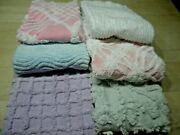 Vintage Chenille Bedspread Fabric Fqand039s 18 X 24 Lot Of 6