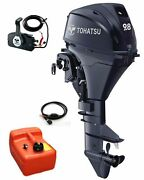 9.8hp Tohatsu Long Shaft 4-stroke Electric Start Outboard + Remotes And 12l Tank