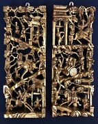 Antique Vintage Pair Chinese 3d Gold Gilt War-field Scenery Wood Carving Panels