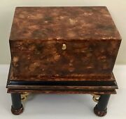 Vintage Chinoiserie Lacquered Lidded Wooden Trunk Chest / Side Table