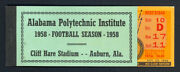1958 Auburn Tigers National Champions Complete Full Football Ticket Wake Forest
