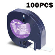 100pk Refills Label 1/2 Black On Clear Tape 16952 For Dymo Letratag Lt-100h