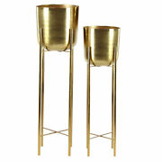 Zimlay Set Of 2 Gold Planters With Stand 51920
