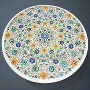 Round Marble Inlay Dining Table Top With Multi Gemstones Patio Table 42 Inches