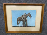Vintage Hand Tinted Photo Woman Cowgirl In Chaps With Horse Framed 15 X 11 3/4
