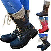 Women Winter Mid Calf Warm Grip Sole Boots Ladies Snow Lace Up Flat Shoes Size
