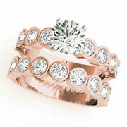 Brilliant Cut 1.50 Ct Real Diamond Wedding Band Set Solid 14k Rose Gold Size 6 7