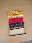 Vintage Rca Victor Advertising Checkers Game Pieces Wooden By Halsam