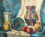 Vintage Oil Painting Still Life With Jug Bowl And Fruits