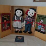 Raggedy Ann And Andy Doll And Book Set Stories Authentic Replica Girl Boy White Wood