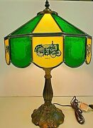 John Deere Tractor Lamp - Models D, A, B, Gp Etc.- Stained Glass From 1980's
