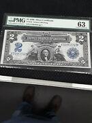 Us 1899 2 Silver Certificate Fr 252 Pmg - 63 Choice Uncirculated