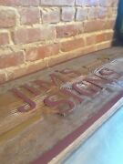 Unique Old Vintage Wood Carved Jim's Signs 42 1/2 By 11 3/4 Man Cave