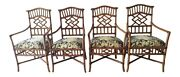 Tommy Bahama Lexington Set 4 Rattan Chinese Chippendale Dining Armchairs