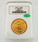 1911-s 20 St. Gaudens Gold Double Eagle Graded By Ngc As Ms-64 W/ Cac