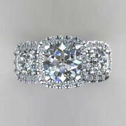 Christmas 1.50 Ct Real Diamond Ring For Proposal Solid 14k White Gold Size 5 6.5