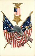 Embossed Udb Postcard Gar Medal, Flags, Rifle And Sword, Unposted Nice