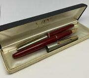 Vintage Parker Vp Very Personal Fountain Pen And Pencil Set Red Steel Boxed Nos