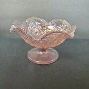 Blush Pink Carnival Glass Bowl Iridescent Imperial Glass Co Footed Compote Dish