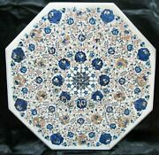 Shiny Gemstones Inlaid Kitchen Table Top White Marble Coffee Table Top 30 Inches