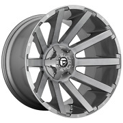 22 Inch 8x170 4 Wheels Rims 22x10 -18mm Brushed Gun Metal Tinted Clear Fuel 1pc