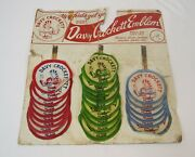 Vintage 1950's Davy Crockett Iron On Emblems On Card Blue, Green, Red