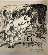 Listed Artist Marc Chagall 1887-1985 Le Village Hand Signed Lithograph C1957