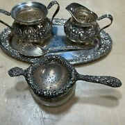 S Kirk And Son Repousse 925 Sterling Silver Hand Decorated Serving Set 583g
