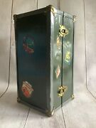 Vintage Mary Lu Toy Metal Steamer Trunk For Doll Wardrobe Green Jc Penney 1920s