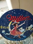 Bar Man Cave Miller High Life Embossed Tin Sign Beer Witch Moon Ande Rooney
