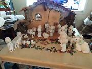 Vintage Precious Moments Nativity Scene 29 Piece Set With Old Manger Cute