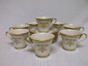 Lenox Castle Garden Gold Rimmed Set Of 8 Footed Cups And Saucers Exc