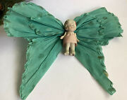 Vintage Christmas Tree Topper Bisque Doll Crepe Paper Butterfly Wings Turquoise