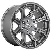 22 Inch 5x5 4 Wheels Rims 22x10 -18mm Brushed Gun Metal Tinted Clear Fuel 1pc