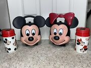 Vintage Disney Mickey And And Minnie Mouse Heads Aladdin Lunch Boxes W/ Thermos