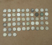Lot 53 Roosevelt Dimes 1946-1964 Us Currency 10 Cent Coins 90 Silver Circulated